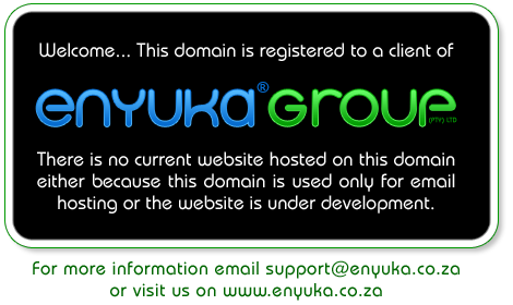 This domain is registered to a client of Enyuka® Group. 
